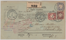 Nr.: 63 u.a. als 3- Farben- Ausgaben- MiF auf Auslands- Paketkarte von Nürnberg nach Zürich