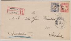 Nrn.: 56 + 57 als Ausgaben- MiF, auf Einschreiben- Fernbrief von München nach Miesbach