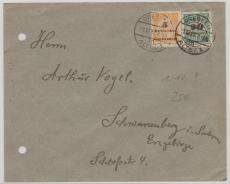 327 A + 329 A als MiF- Fernbrief vom 1.12.1923, von Dresden nach Schwarzenberg
