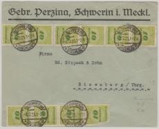 328 (10x) als MeF auf Fernbrief von Schwerin nach Eisenberg, vom 3.12.1923
