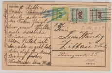 328 A + 329 A (2x) auf Fernpostkarte von Dresden nach Zittau