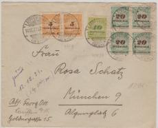 327 B (2x) + 328 A + 329 A (4x) als MiF auf Fernbrief von Lauffen nach München, geprüft Infla