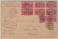 USA 1927, dekorativer E.- Brief mit MiF, von New York per SS Aquitania nach Berlin