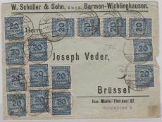Nr.: 319 A (15x) auf Auslandsbrief von Barmen nach Brüssel