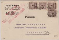 327 B (4x) als MeF auf Postkarte von Berlin- Friedenau nach Cöpenick bei Berlin