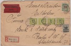328 (4x), 329 + 337, als MiF auf Eilboten- Einschreiben- Fernbrief von Münster nach Berlin