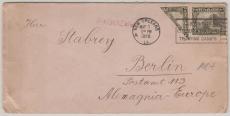 Nicaragua, 1926, Halbierung u.a.,  per Paketboot, via  (Stempel) New Orleans, nach Berlin, Kuriosität!