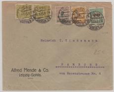 329 B u.a. als MiF auf Fernbrief von Leipzig nach Hamburg, v. 30.11.1923! Letzttag der Inflation!