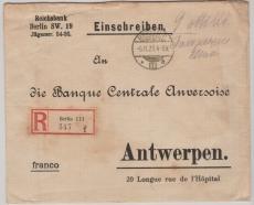 9 Milliarden Barfrankatur, auf Auslands- Einschreiben der Reichsbank von Berlin nach Antwerpen (B)