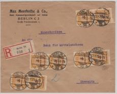 327 B (8x) als MeF auf Einschreiben- Fernbrief von Berlin nach Chemnitz, vom 23.11.1923