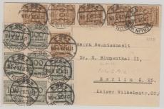 323 B (6x) + 322 (8x) als MiF auf Ortskarte innerhalb Berlin´s, vom 12.11.1923