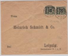 336 (2x) als MeF auf Fernbrief von Zeulenroda nach Leipzig, Letztag!