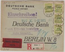 328 (8x, 4x vs. + 4x rs.), auf Eilboten- Einschreiben- Fernbrief der Deutschen Bank von Erfurt nach Berklin, vom 30.11.!