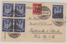 267 (5x, ein 4er Bl.) + 280, MiF auf Briefvorderseite, verwendet (ursprünglich) als Fernbrief von Frankenberg nach Pillnitz
