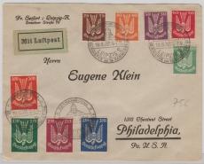 210- 219 zusammen als MiF auf Satz- Auslandsbrief, von Leipzig in die USA