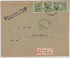 232 (2x) + 249, als MiF auf Auslands- Einschreiben von München nach Merano, mit sehr seltener Zensur!