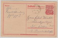 80 Pfg. GS- Antwortpostkarte, Frageteil gelaufen von B.- Charlottenburg nach Neukölln (3.9.1922)