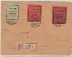 Halle, farbige Gebührenmarken, kpl. Satz verwendet auf Fernbrief- Einschreiben von Halle nach Jena