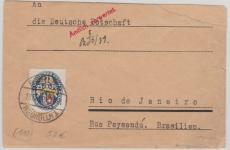 Nr.: 433 als EF auf Brief (stärker eingekürzt) von Berlin nach Rio Janeiro (Deutsche Botschaft, Brasilien)