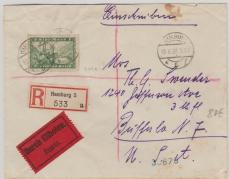 Nr.: 364 X, als EF auf Eilboten- Einschreiben von Hamburg nach Buffalo (USA)