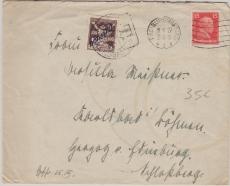 Nr.: 391 + Tschechische Nachportomarke, als MiF auf Auslandsbrief von Freiburg nach Karsbad (Böhmen)