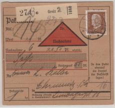 Nr.: 420, als EF verwendet auf NN- Paketkarte von Greiz nach Chemnitz
