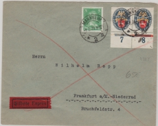 Nrn.: 428 (2x) + 388 als MiF auf Einschreiben- Fernbrief von Mannheim nach FFM