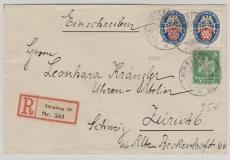 Nrn.: 356 + 400 (2x) als MiF auf Einschreiben- Auslandsbrief von Nürnberg nach Zürch (CH)