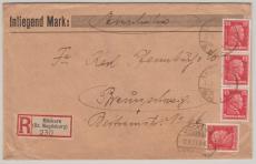 Nr.: 391 (4x) als MeF auf Einschreiben- Fernbrief von Möckern nach Braunschweig