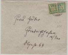 356 (2x) als Ganzsachenausschnitte auf Brief von Freiberg nach ...?