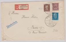 Nrn.: 343, 396 + 416 in MiF auf Auslands- Einschreiben- Fernbrief von der IPOSTA 1930 nach Paris