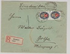 Nr.: 428 (2x) als MeF auf Einschreiben- Fernbrief von Meiningen nach Gotha