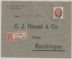 Nr: 434 als EF auf Fernbrief- Einschreiben von Nürtingen nach Reutlingen