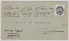 Nr.: 433 als EF auf Auslandsbrief von Hamburg nach Bari