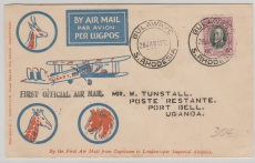 Süd- Rhodesien, 1932, Erstflugbrief von Bulawayc, via Kenia nach Uganda