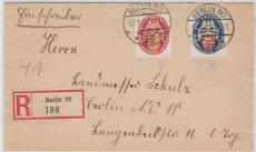 Nrn.: 399 + 400, als Ausgaben- MiF auf Orts- Einschreiben innerhalb Berlins