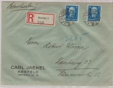 405 (2x) als MiF auf Fernbrief- Einschreiben von Krefeld nach Hamburg