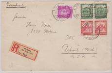 S 76 (2x) + 435 als MiF auf- Auslands- Einschreiben von Hofheim nach Detroit (USA), rs. mit Ankunftsstempel