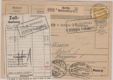 437 als EF auf Auslandspaketkarte von Berlin nach Zürich (CH)