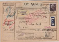 422 als EF auf Auslandspaketkarte von Radolfzell nach Genf (CH)