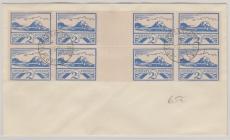 Jersey; 6 ZW (2x) + Zusatzmarken, auf Umschlag nicht gelaufen