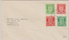 Guernsey / Jersey MiF der jeweiligen 1/2 + 1 Pence- Marken, auf Ortsbrief innerhalb Jerseys