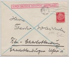 12 Pfg. Hindenburg als EF auf Brief Durch Deutsche Dienstpost Niederlande, Den Haag, 29.11.40