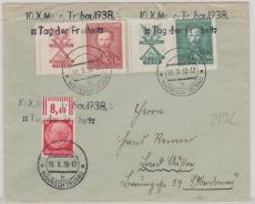 Sudetenlandbesetzung; Dt. + Tschechische Marken in MiF, mit Propagandastempeln Mährisch Trübau (10.10.38)