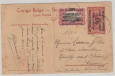 Belgische Bes.  von DOA, Gs. mit Zusatzfrankatur mit Überdrucken, nach Frankreich