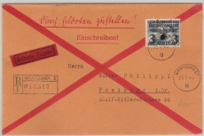 GG Nr.: 29 als EF auf Einschreiben- Eilboten- Fernbrief von Warschau nach Freiburg