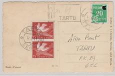 Estland Nrn.: 2 u.a. auf Einschreiben- Ortspostkarte innerhalb Tartus