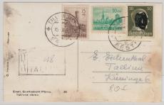Estland Nrn.: 4, 7 u.a. auf Einschreiben- Ortspostkarte innerhalb Tallins