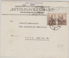 Estland Nr: 4 (2x) als MeF auf Brief von Tallinn nach Vöru
