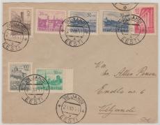 Estland Nrn: 4- 9 (nr. 6 2x) als MiF auf Satz- Brief innerhalb von Viljandi